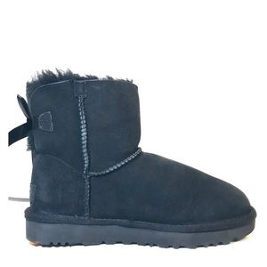 NEW UGG Mini Bailey Bow II Black Shearling Boots